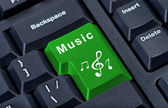 Button keypad music with treble clef and notes. — Stock Photo