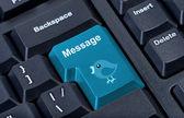 Mensagem de teclado botão com passarinho. — Fotografia Stock