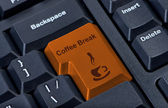 Button keypad coffee break with cup. — Stock Photo