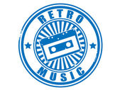 Stamp audiocassette retro music. — Stockvector