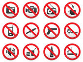 Prohibiting signs vector format set. — Stock Vector