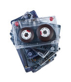 Stack audio cassettes isolate on white background top view. — Stockfoto