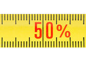 Ruler sale 50 percent concept isolated. — Stock Photo