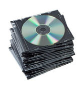 Stack CD discs in box isolated. — Stock Photo