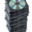 Stack CD discs in box isolated. - Stock Photo