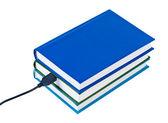 Boeken draad verbonden usb geïsoleerd op witte achtergrond. — Stockfoto