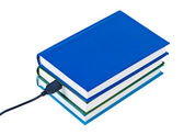 Książki drut podłączony usb na białym tle. — Zdjęcie stockowe