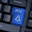 Christmas tree blue button computer keyboard internet concept. — Zdjęcie stockowe