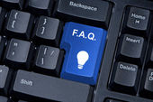 F.A.Q. blue button computer keyboard internet concept. — Stock Photo