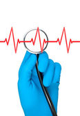 Hand in rubber glove holding stethoscope. — Stock Photo