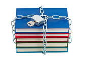 Books in chains closed padlock with key isolated. — Stock Photo