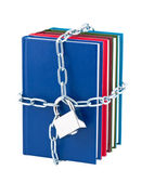 Books closed on padlock and chain isolated on white background. — Stock Photo