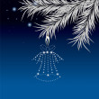 New Year&#039;s pine and hand bell. Vector illustration - Stock Photo