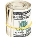 10 thousand US dollars rolled up bundle on white background — Stock Photo #7005554