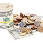 photo d'une notion monétaire de monnaie USA dollar avec billet de banque roulé — Photo