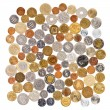 Many different coins collection on white background — Stock Photo