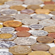 Many different coins collection, monetary concept background — Foto Stock