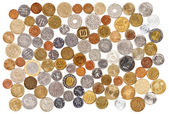 Many different old coins collection on white background — Stock Photo