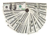 100 USA dollars bank notes fanned out on white with one chinese — Stock Photo