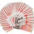 Many 50 pound sterling bank notes fanned out, isolated on white — Stock Photo #7239220