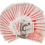 muchos billetes 50 libra esterlina aventaron hacia fuera, aislado en blanco — Foto de Stock   #7239220