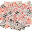 Many 50 pound sterling bank notes business background, isolated — Foto de Stock