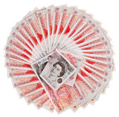 Many 50 pound sterling bank notes fanned out, isolated on white — Stock Photo