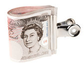 Bundle of 50 pound sterling bank notes fasten with paper clip, i — Stock Photo