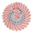 Many 50 pound sterling bank notes fanned out, isolated on white — Stock Photo #7469655
