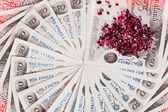 50 pound sterling bank notes with diamonds closeup view business — Stock Photo