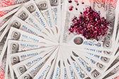 50 sterlina banconote con diamanti closeup mostra d'affari — Foto Stock