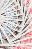 50 pound sterling bank notes closeup view business background — Stockfoto