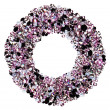 Round frame made from many small purple diamonds, isolated on wh — Stock Photo