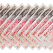 Many 50 pound sterling bank notes business background, isolated — Stock Photo