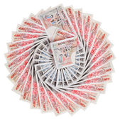 50 pound sterling bank notes fanned out, isolated on white — Stock Photo