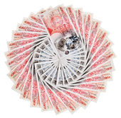 Many 50 pound sterling bank notes with diamonds fanned out, isol — Stock Photo
