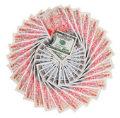 Many 50 pound sterling bank notes with 100 dollar fanned out, is — Stock Photo