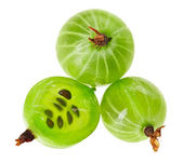 Whole and cross-section of gooseberry fruit isolated on white, m — Stock Photo
