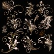Gold ornament. Floral decoration elements - Stock Vector