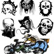 Stock Vector: Vector skull moto tattoo collection, race silhouette set