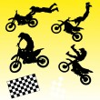 Cross motorbike silhouettes - Stock Vector