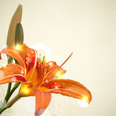 Lily flower abstract vector background, wedding card template — ストックベクタ