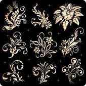 Gold ornament. Floral decoration elements — Stock Vector
