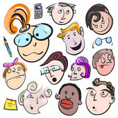 Funny cartoon faces — Stock Vector