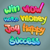 Abstract color vector words: success, happy, money, win, joy — Stok Vektör