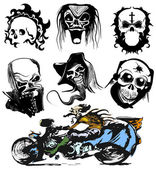 Vector skull moto tattoo collection, race silhouette set — Stock Vector