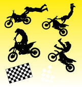 Cross motorbike silhouettes — Stock Vector