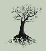 Tree with roots vector illustration — Vetorial Stock