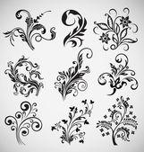 Modelli vettoriali di fiore ornamento, elementi vintage — Vettoriale Stock
