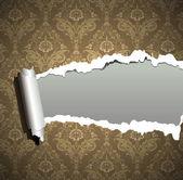 Papier peint déchiré cadre, fond baroque millésime — Vecteur